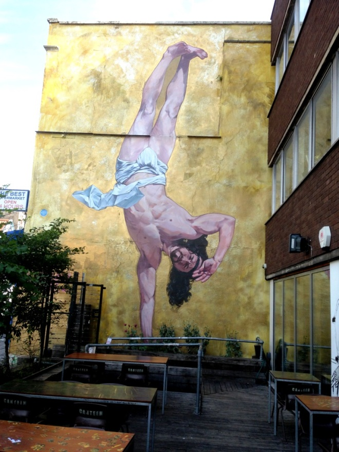 Cosmo Sarson, Breakdancing Jesus, Stokes Croft, Bristol, July 2015