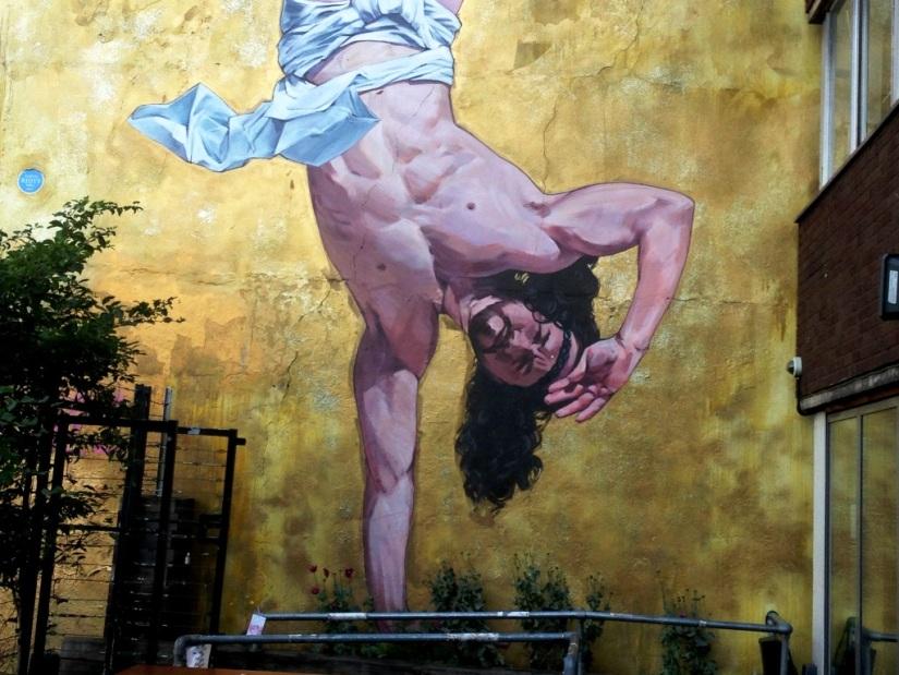 Cosmo Sarson, Breakdancing Jesus, Stokes Croft, Bristol, July 2015
