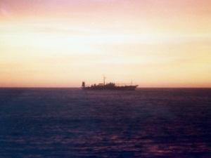 Squid jigger at sunrise, 29 April 1988