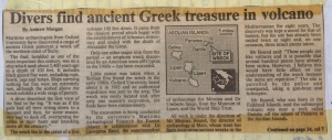 Newspaper article about a Falklander who discovered Greek treasure.