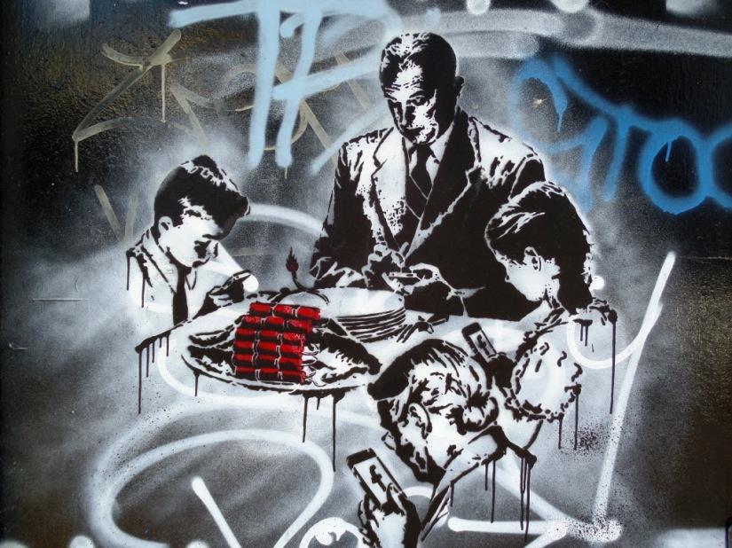 Unknown artist, stencil, Armada Place, Bristol, November 2015