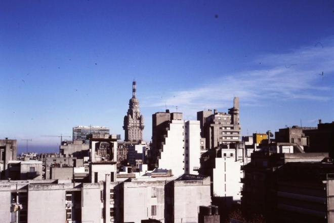 View from the roof of the London Palace Hotel, Montevideo. June 1988