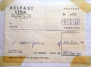 Receipt for my new leather jacket, Montevideo, June 1988