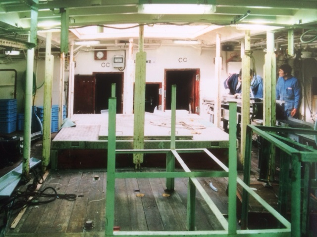 Refit of the processing deck on the Koei Maru 30, Montevideo, June 1988
