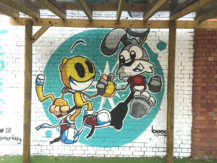 Beep Monkey, Ashton Gate School, Upfest, Bristol, July 2016