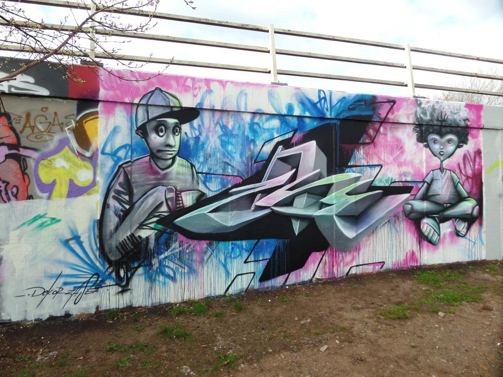Zase and Dekor, M32 roundabout, Bristol, April 2017