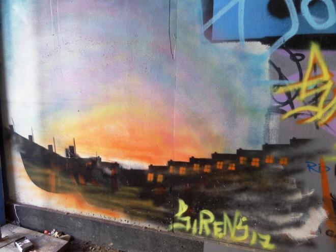 Sirens, North Street hoarding, Bristol, June 2017