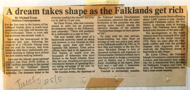 Times article about the Falkland Islands, 25 May 1988