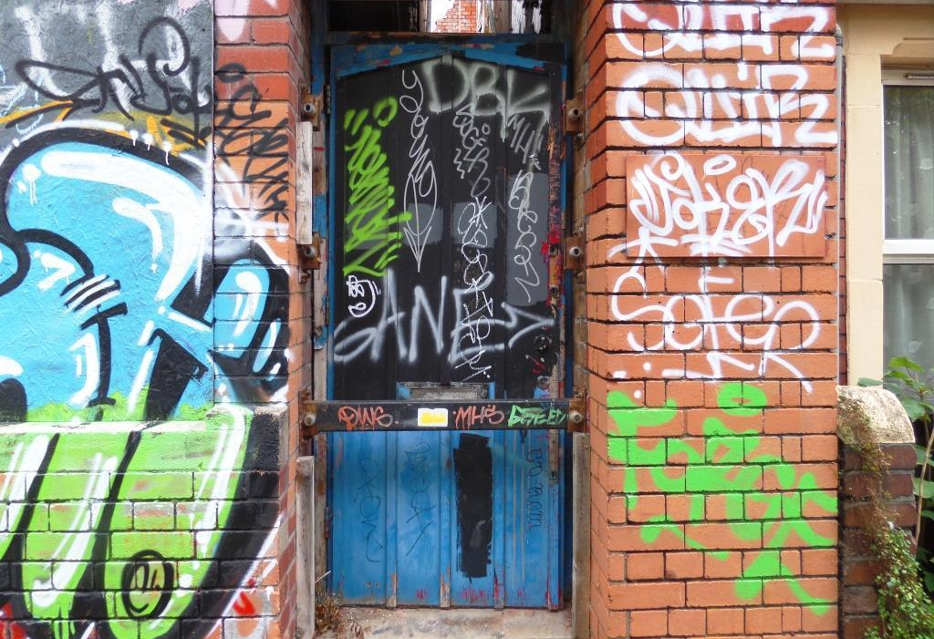 Graffiti door, Lydstep Terrace, Bristol