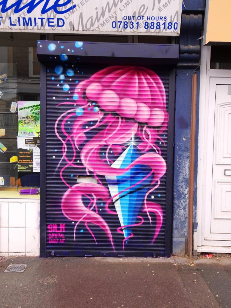 Silk Crystal street art, Upfest, Bristol, July 2018