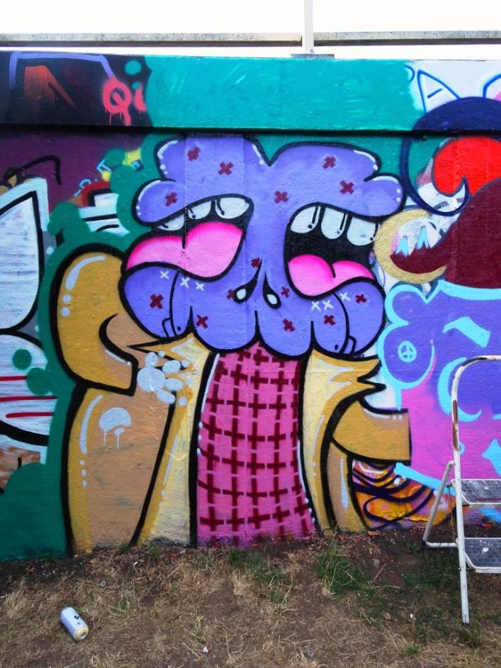 Soap, Tasha Bee and Face F1st, M32 roundabout, Bristol, August 2018