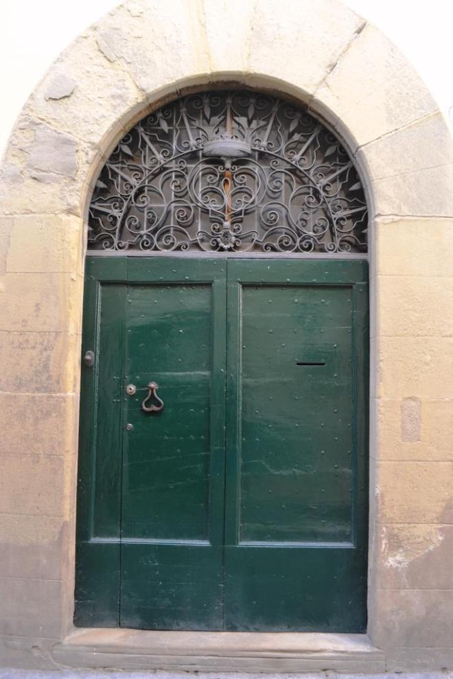 Green double door, Citta di Castello, Umbria, Italy