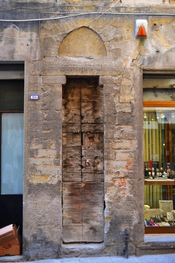 Door of the dead, Corso Cavour, Citta di Castello, Umbria, Italy, August 2018