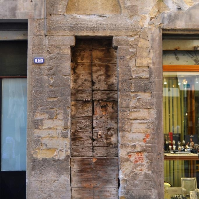 Door of the dead, Corso Cavour, Citta di Castello, Umbria, Italy, August 2018