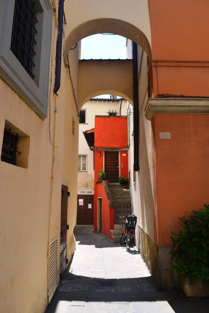 'De Chirico' door, Citta di Castello, Umbria, Italy, August 2018
