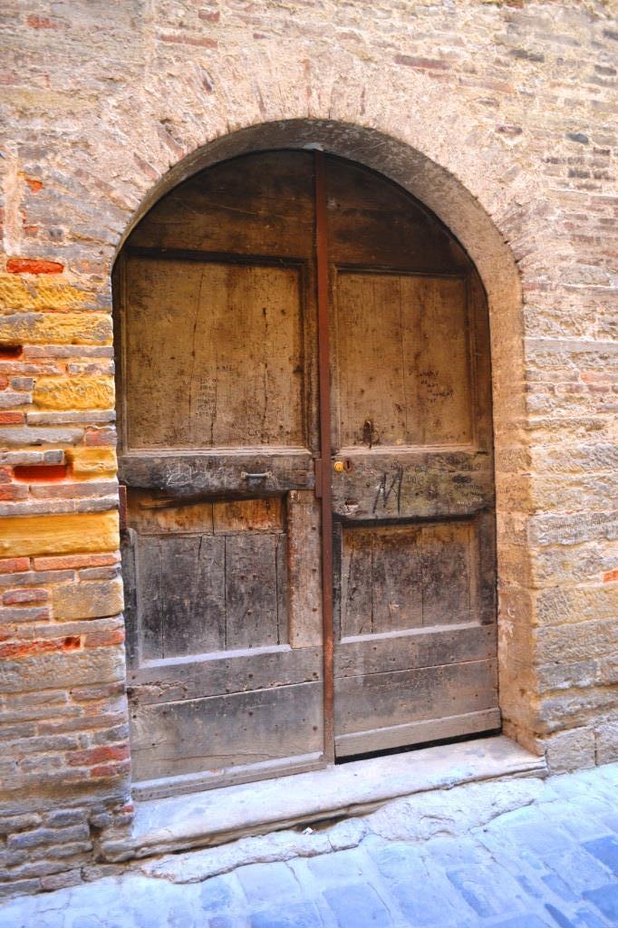 Double door, Citta di Castello, Umbria, Italy, August 2018
