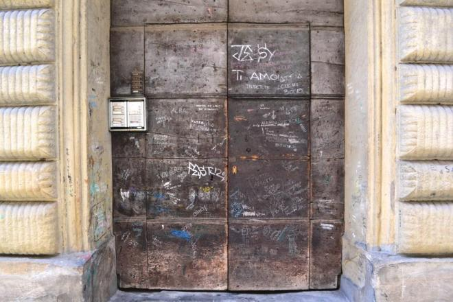 Graffiti door, Citta di Castello, Umbria, Italy, August 2018