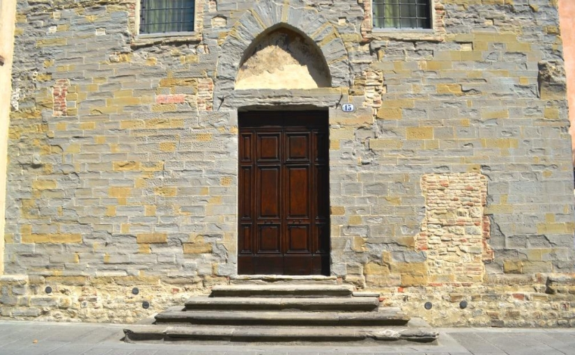 Grand doorway and bricked up door, Citta di Castello, Umbria, Italy, August 2018