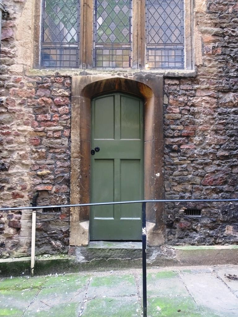 Door on the inside of the city wall, Church of St John the Baptist, Bristol