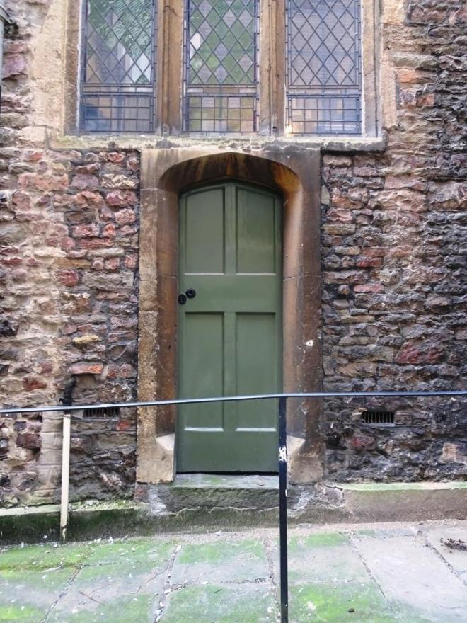 Door on the inside of the city wall, Church of St John the Baptist, Bristol