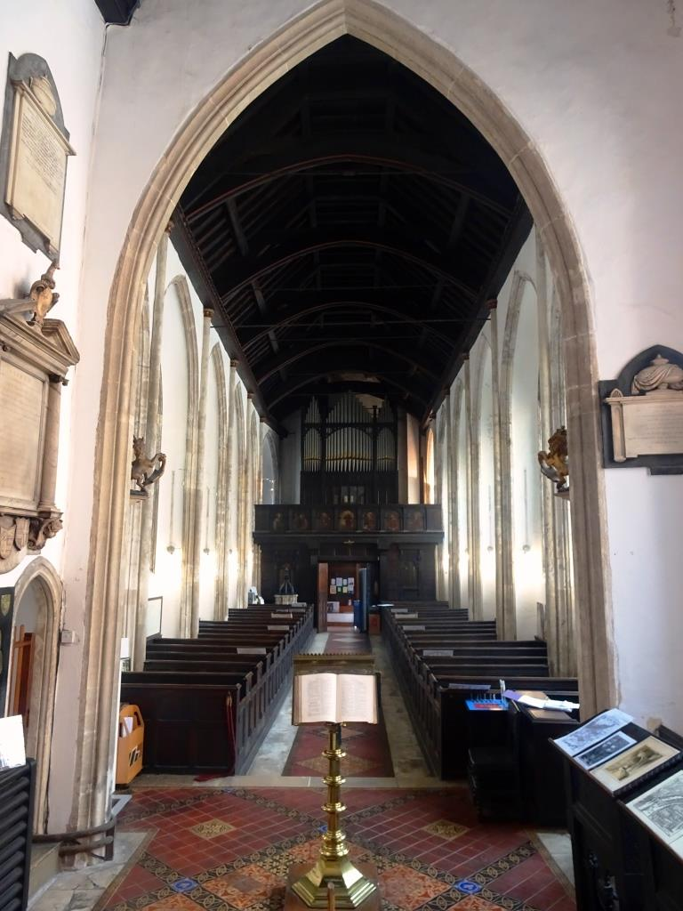 View of the nave and organ, Church of SDt John the Baptist, Bristol