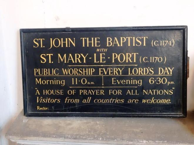 Sign in the Church of St John the Baptist, Bristol