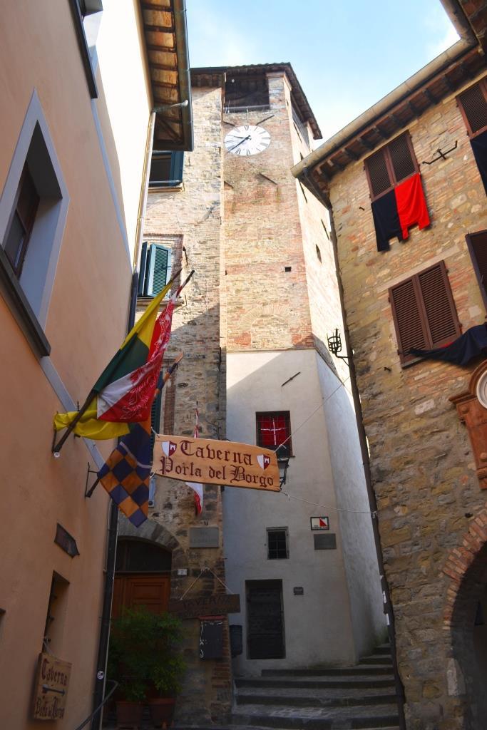Prison and clock tower, Piazza Fortebraccio, Montone, Umbria, August 2018