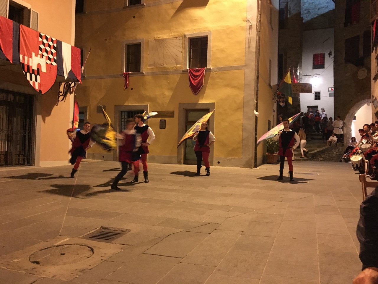 Flag waving at the festival of the donation of the sacred thorn, Piazza Fortebraccio, Montone, Umbria, August 2018