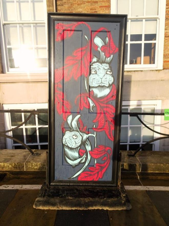 Alex Lucas, Street art door, A Year Outdoors, Bristol, December 2018