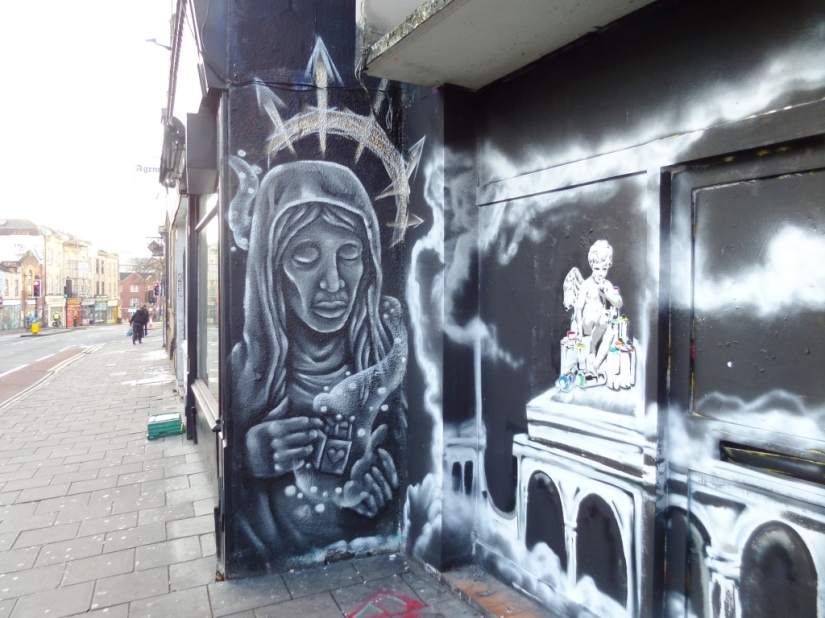 DNT and Unknown artist, Stokes Croft, Bristol, December 2015