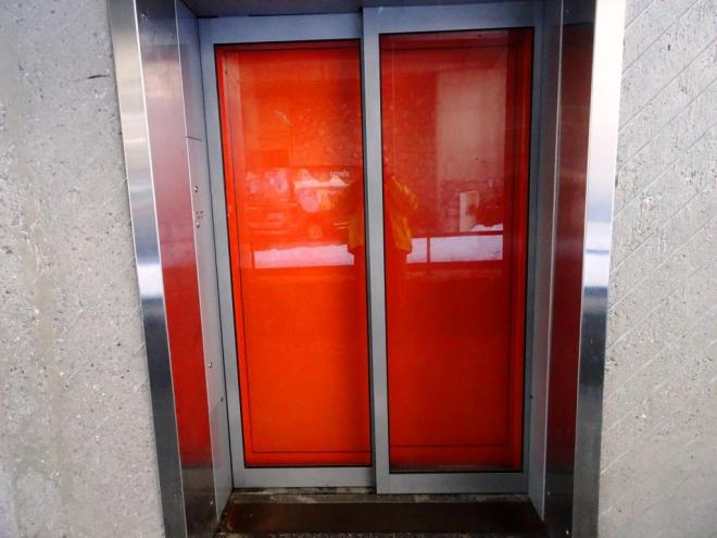 Double doors, funicular railway, Flaine, France, March 2019