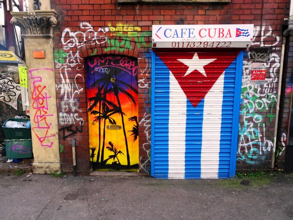 Door and shutter, Cafe Cuba, Jamaica Street, Bristol, February 2019