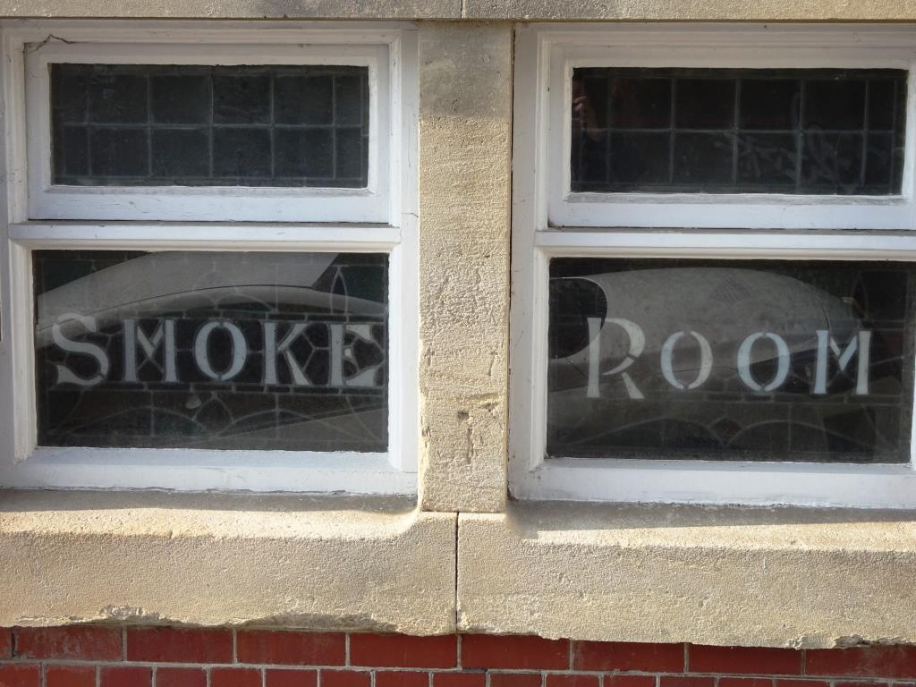 Windows from a bygone era... a smoke room, can you believe it?