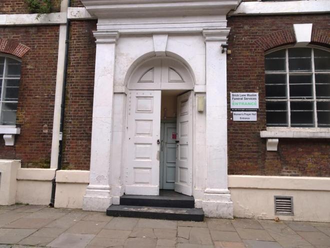 Double double door, Brick Lane Muslim Funeral Services, Fournier Street, London April 2019