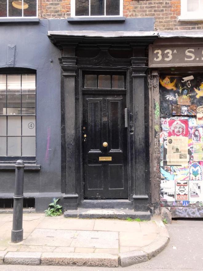 Door, slightly wonky, Fournier Street, London, April 2019