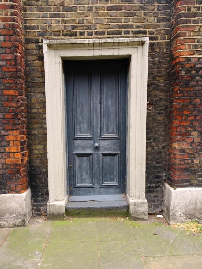 Another slightly wonky door to a garden, Fournier Street, London, April 2019