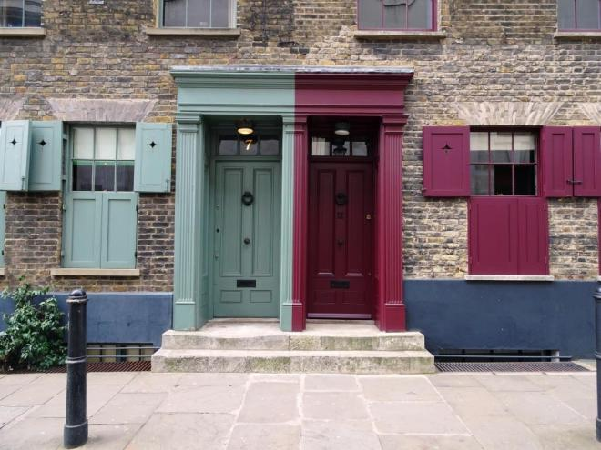 Great doors, great shutters, great colours, Fournier Street, London, April 2019
