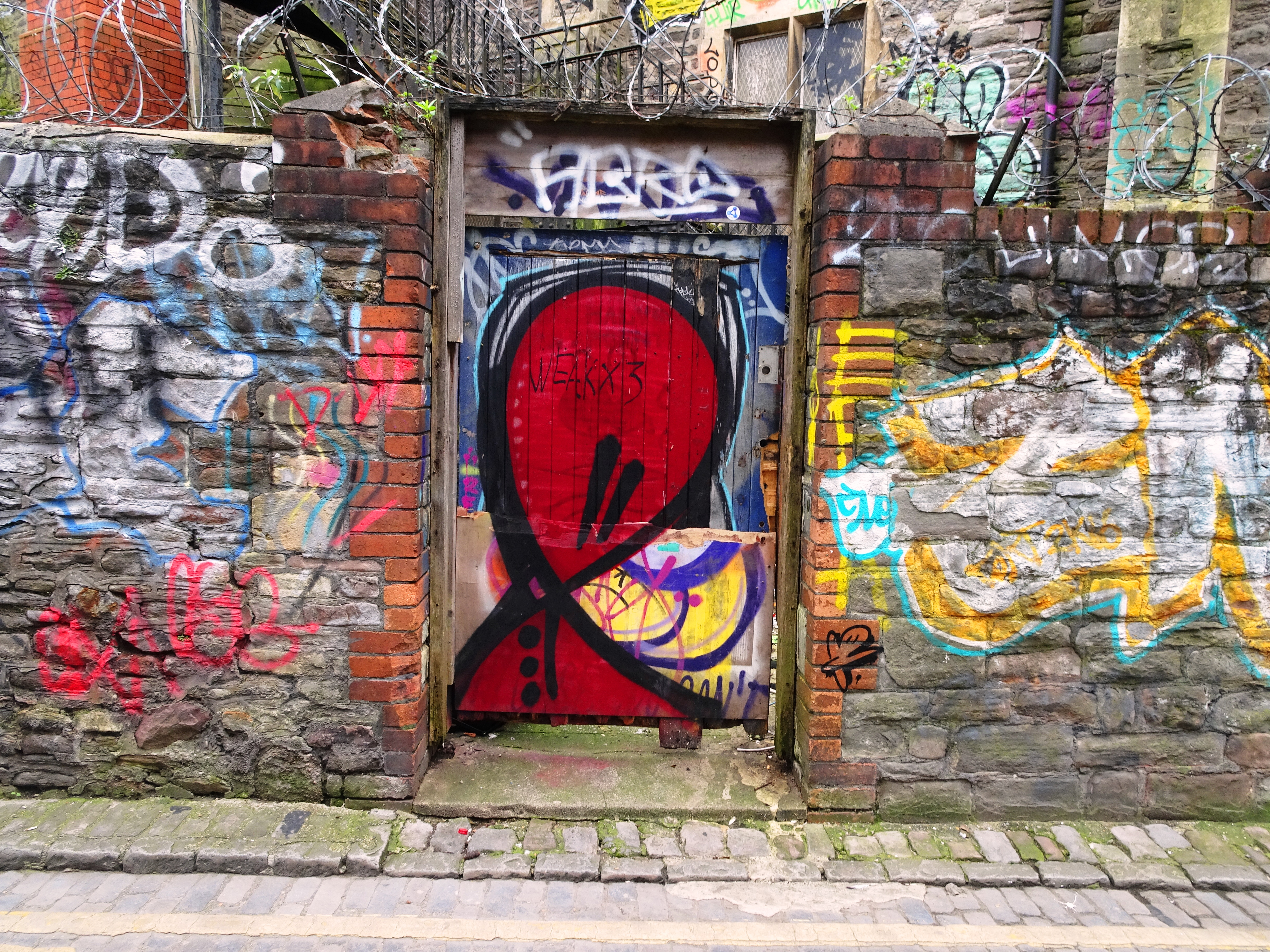 Tagged door, Moon Street, Bristol, March 2019