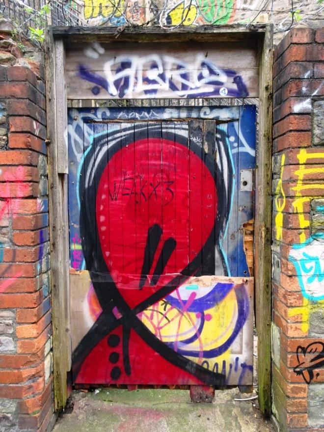 Tagged door, Moon Street, Bristol, March 2019