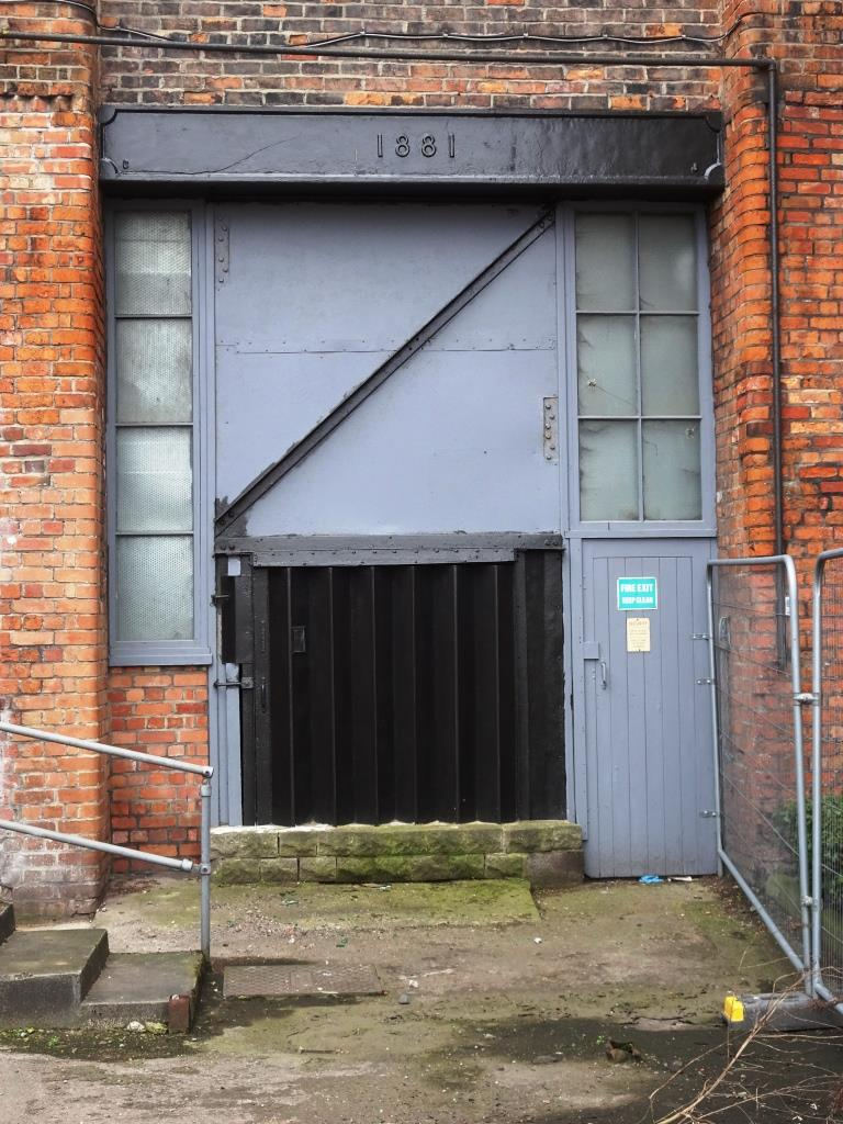 Warehouse doors, Gardiner Haskins building, Bristol, March 2019