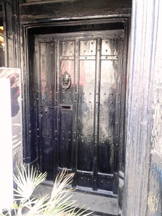Rather old and redundant? Shop door, Dorchester, June 2019