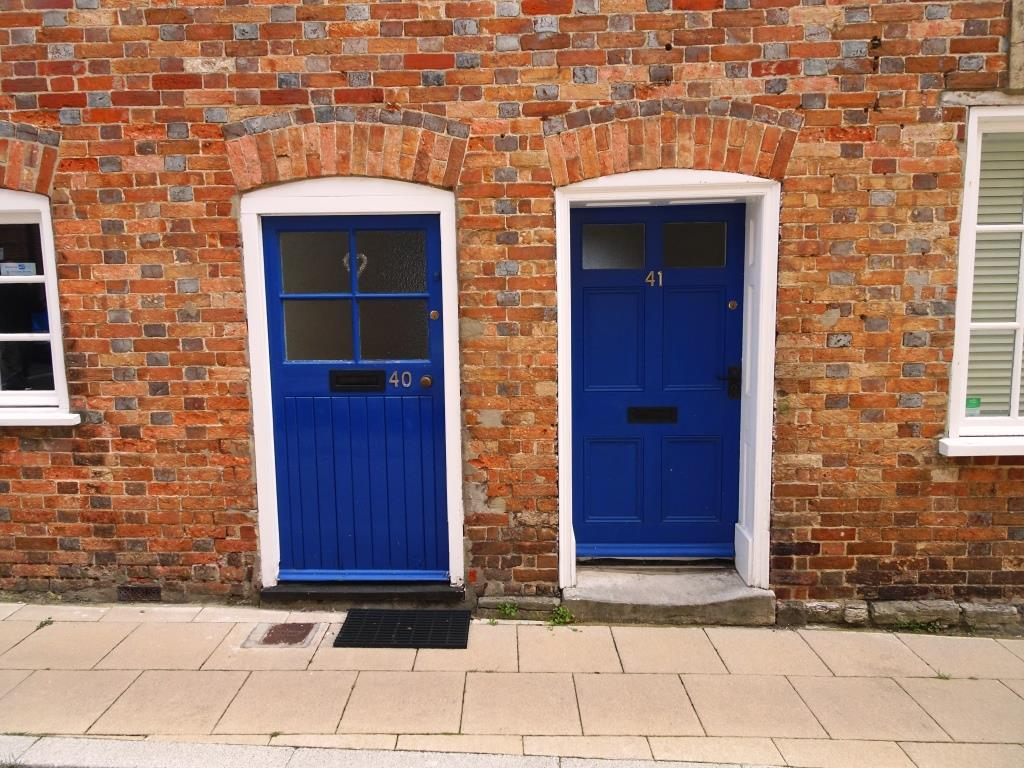 Pair of doors - I particularly like the worn step, Dorchester, June 2019