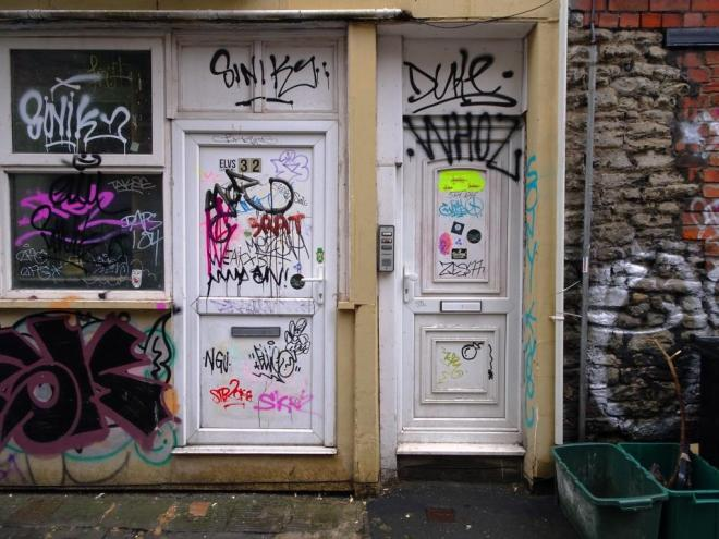 Character-building? tagged doors in Moon Street, Bristol, June 2019