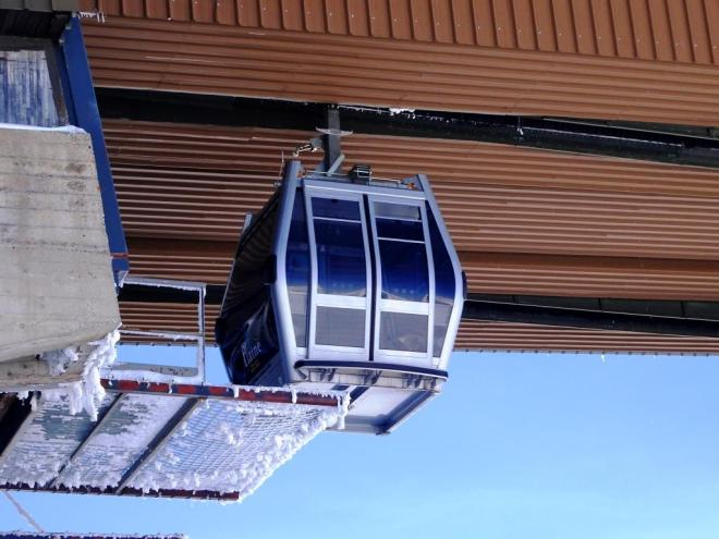 Doors on a gondola at the top of Les Grandes Platieres lift, Flaine March 2019