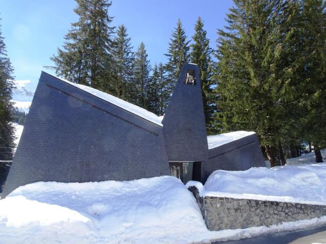 Church in the centre of 'brutalist' Flaine, March 2019