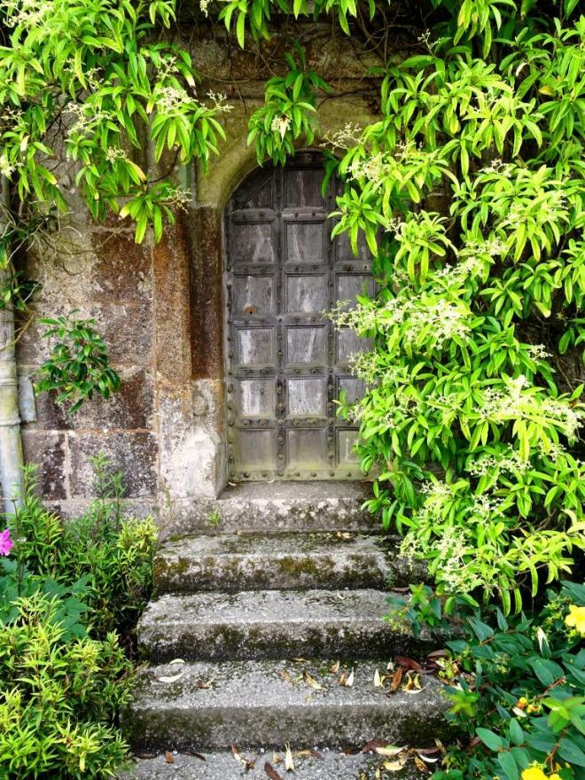 Small door to the house, Lanhydrock House, Cornwall, August 2019