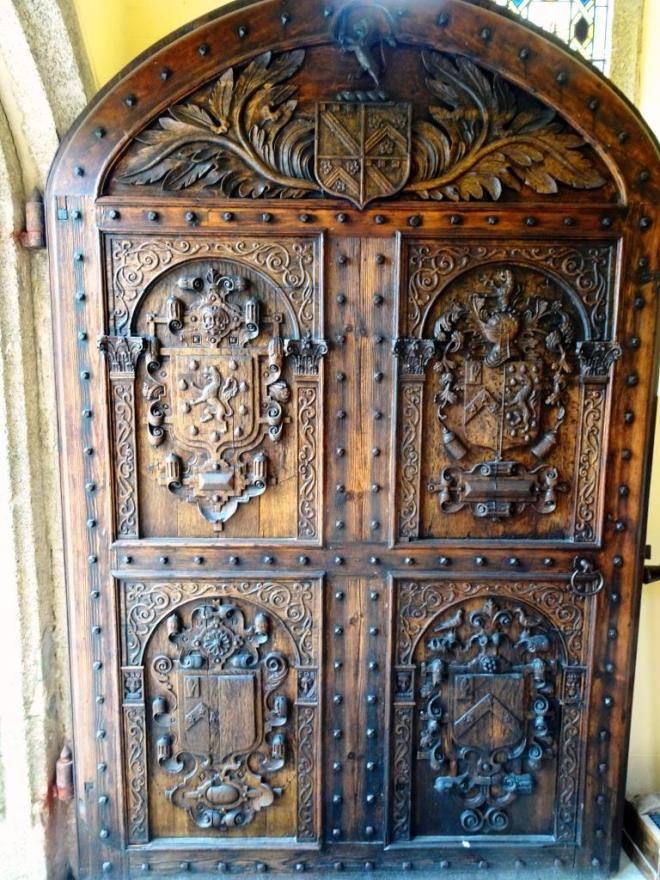 Main front door to the house dating back to the 17th century, Lanhydrock House, Cornwall, August 2019