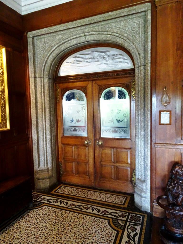 Hall doors with etched windows, Lanhydrock House, Cornwall, August 2019