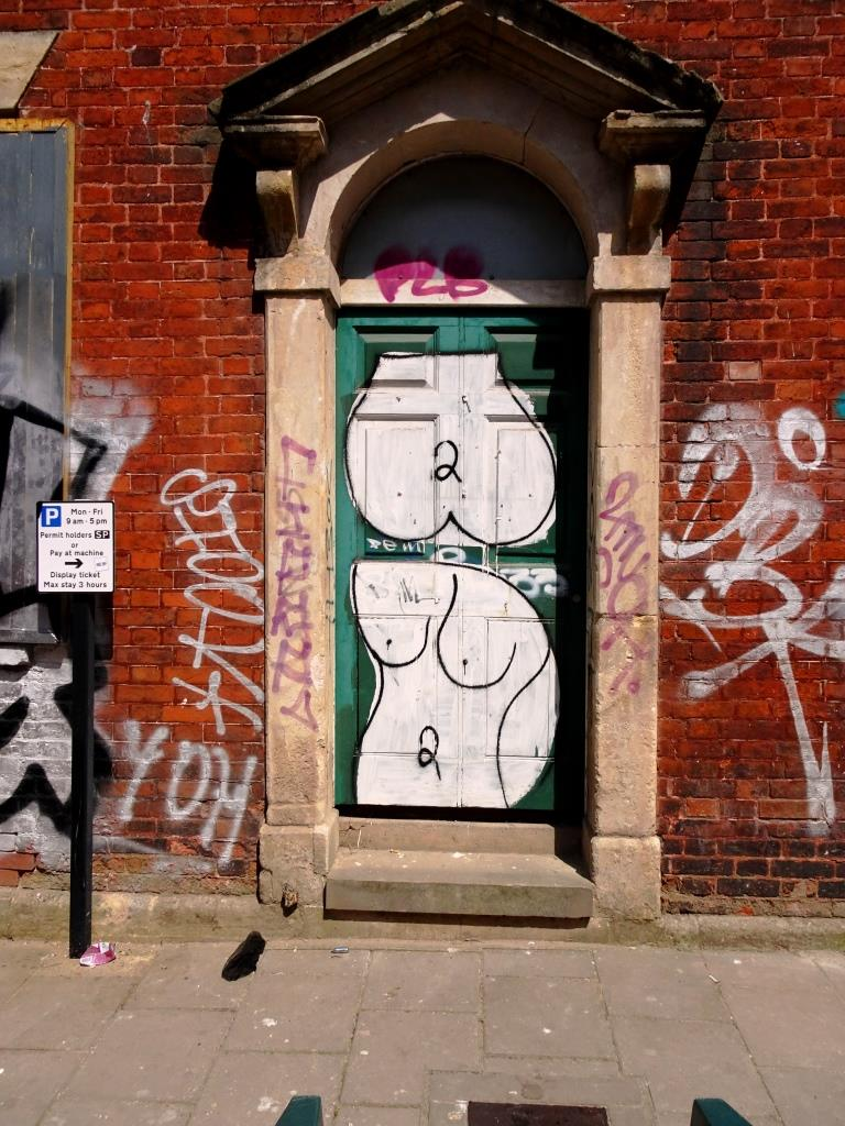 Nude door, St Paul's, Bristol, July 2019