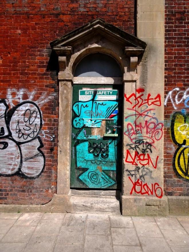 Site Safety door, St Paul's, Bristol, July 2019